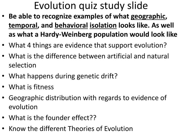 Evolution quiz study slide