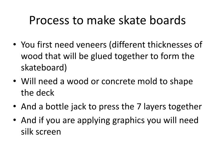 Process to make skate boards