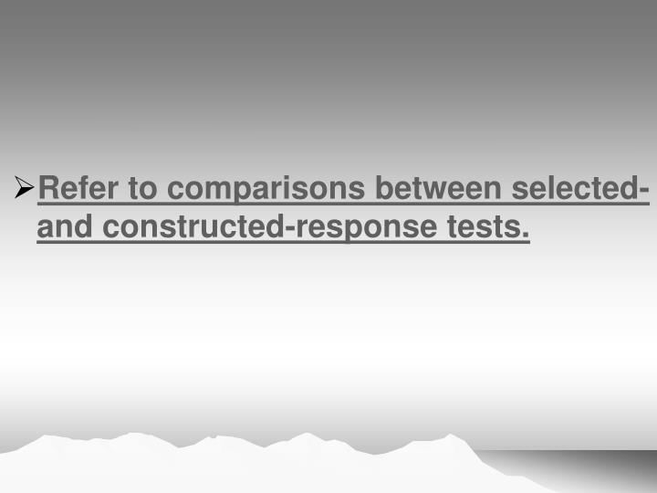 Refer to comparisons between selected- and constructed-response tests.