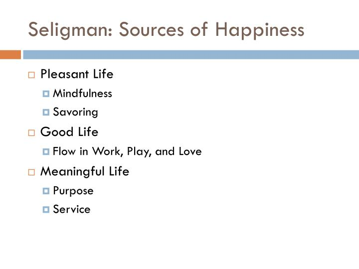 Seligman: Sources