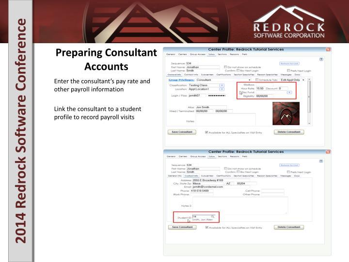Preparing Consultant Accounts
