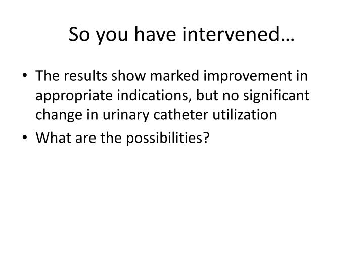 So you have intervened…