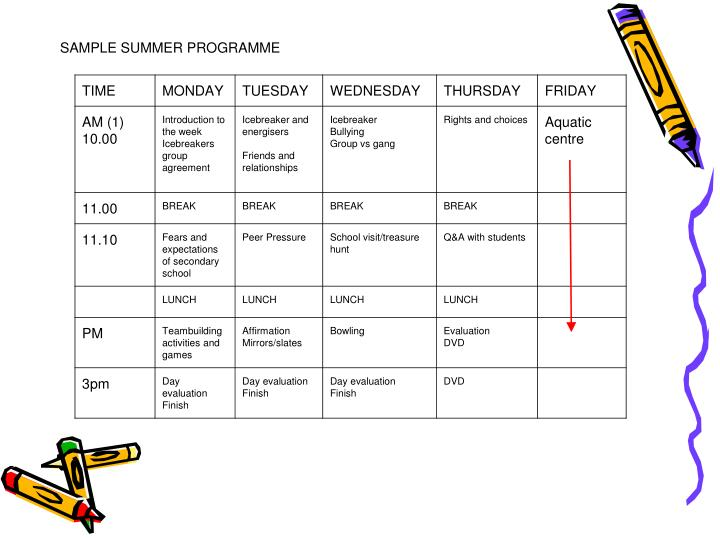 SAMPLE SUMMER PROGRAMME