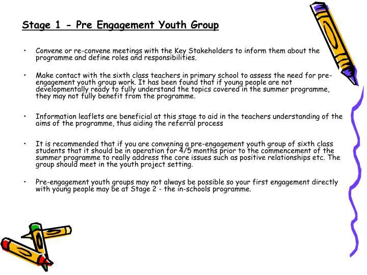 Stage 1 - Pre Engagement Youth Group