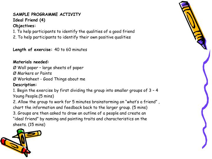 SAMPLE PROGRAMME ACTIVITY
