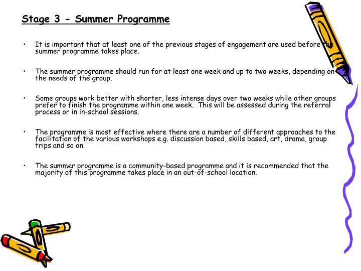 Stage 3 - Summer Programme