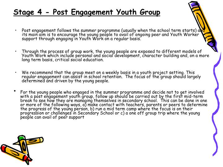 Stage 4 - Post Engagement Youth Group
