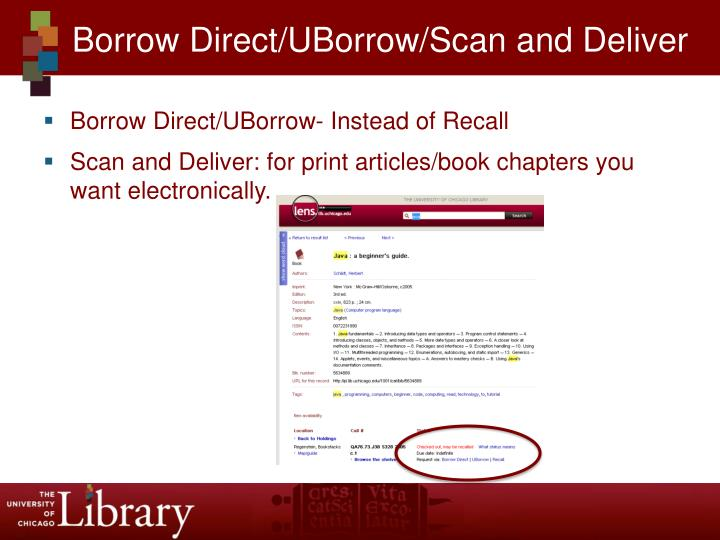 Borrow Direct/UBorrow/Scan and Deliver