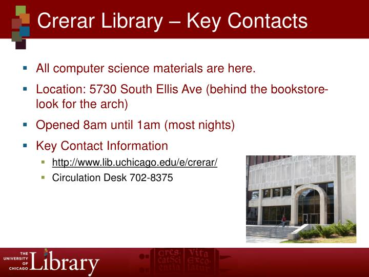 Crerar library key contacts