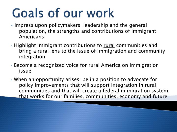 Goals of our work