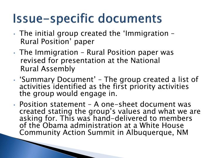Issue-specific documents