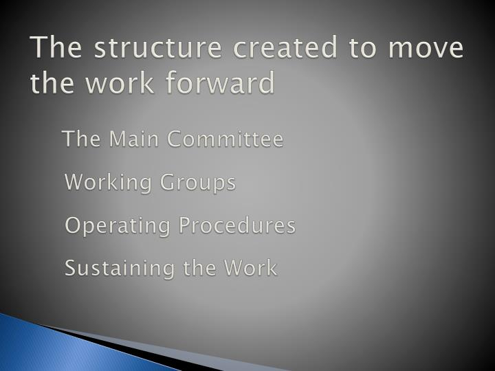 The structure created to move the work forward