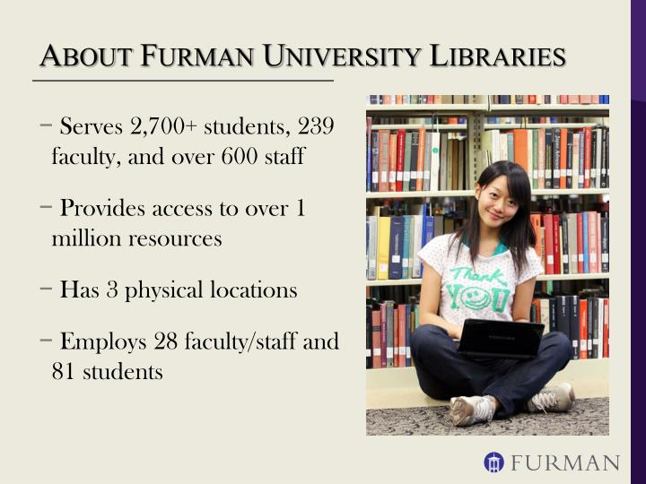 About furman university libraries