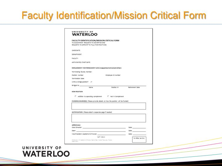 Faculty Identification/Mission Critical Form