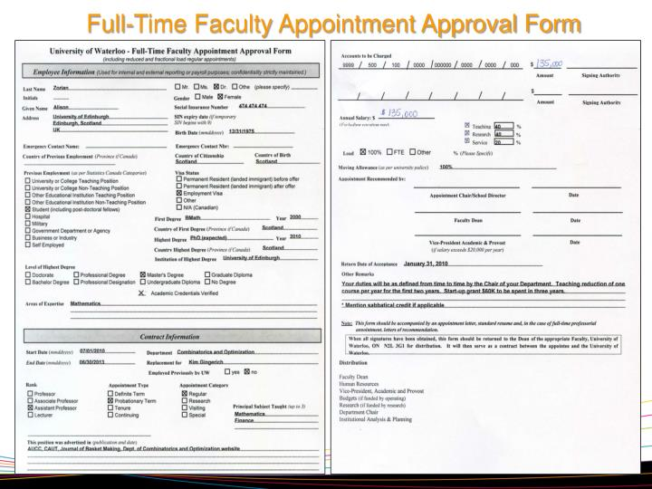 Full-Time Faculty Appointment Approval Form