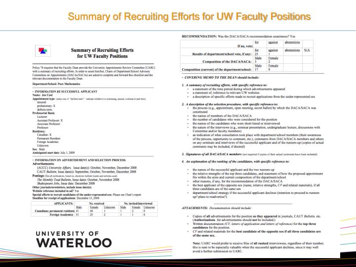 Summary of Recruiting Efforts for UW Faculty Positions