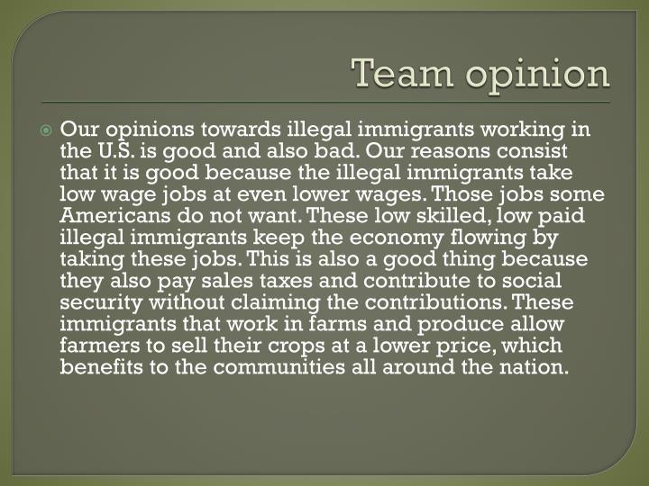 Team opinion