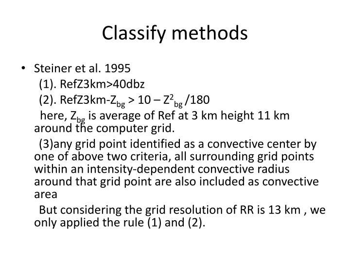 Classify methods