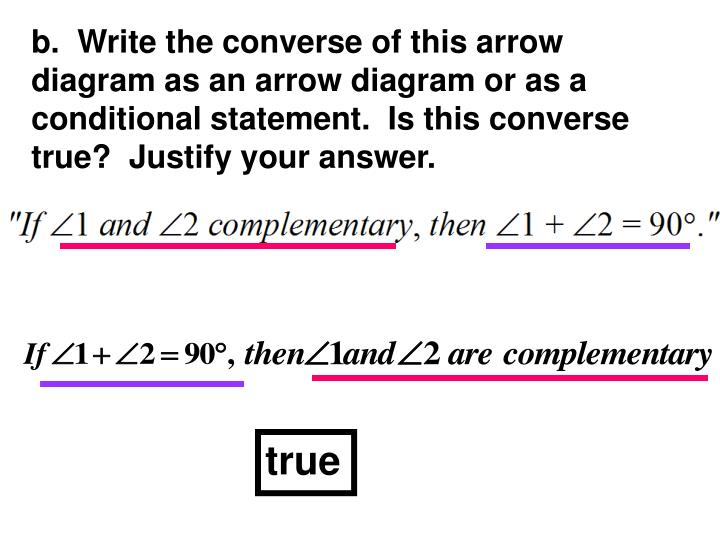 b.  Write the converse of this arrow diagram as an arrow diagram or as a conditional statement.  Is this converse true?  Justify your answer.