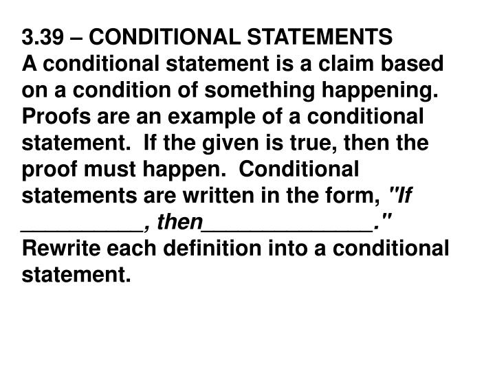 3.39 – CONDITIONAL STATEMENTS