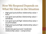 how we respond depends on what we value in the situation