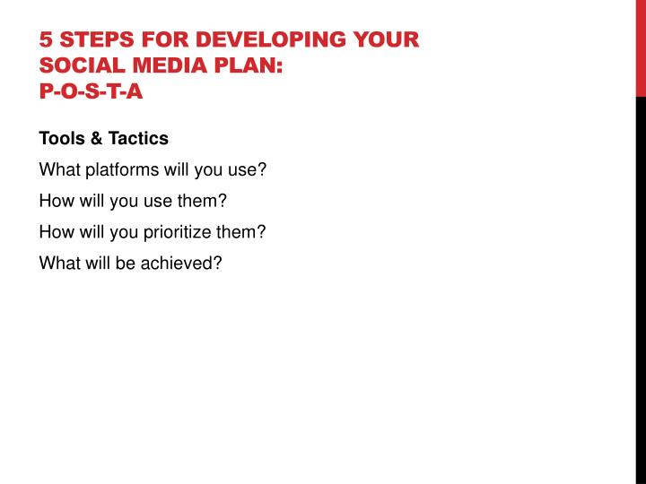 5 Steps for developing your social media plan: