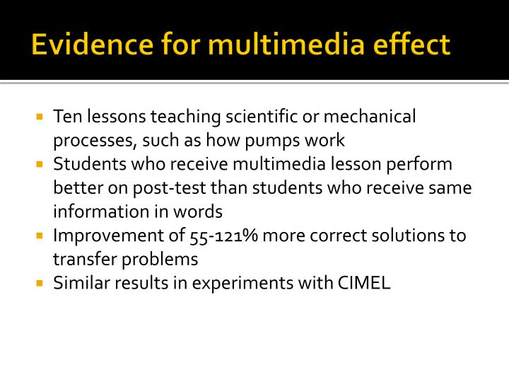 Evidence for multimedia effect