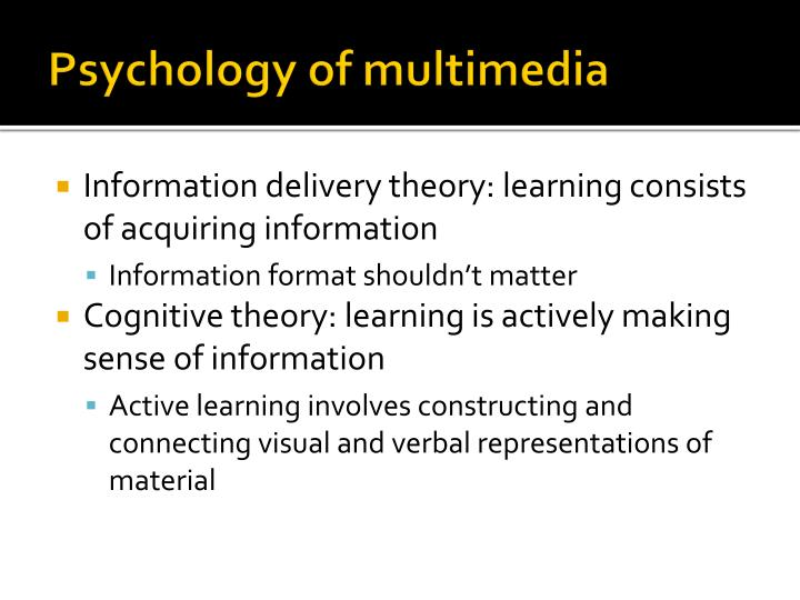 Psychology of multimedia