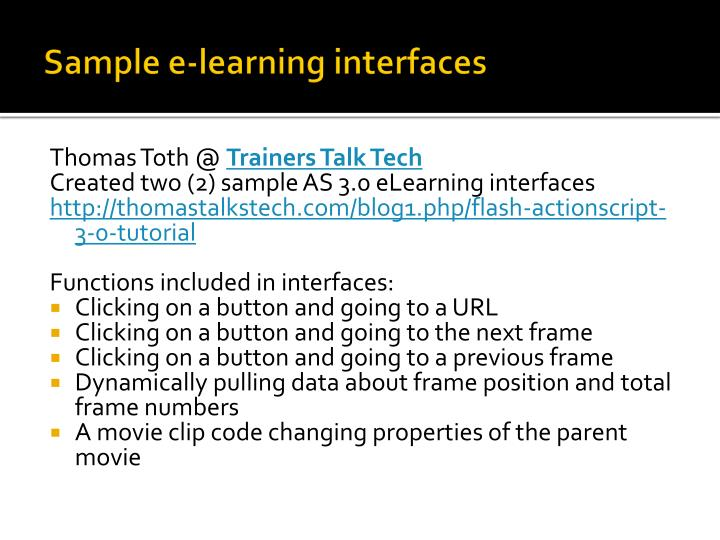 Sample e-learning interfaces