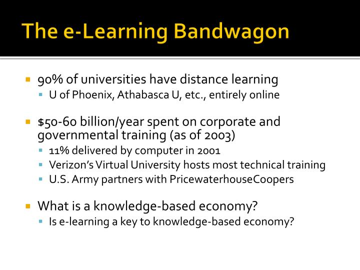 The e learning bandwagon