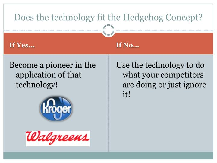 Does the technology fit the hedgehog concept
