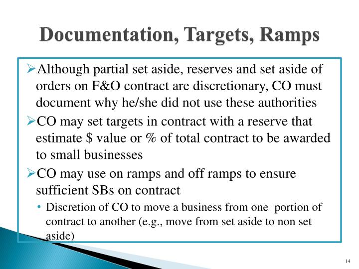 Documentation, Targets, Ramps