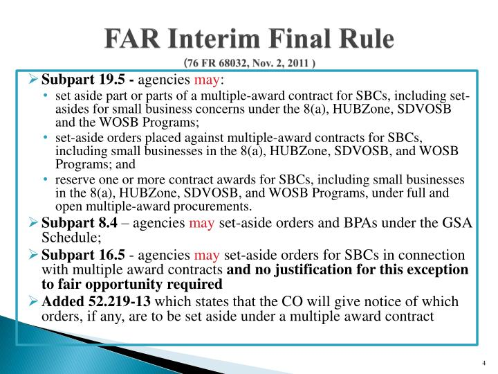 FAR Interim Final Rule