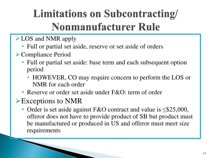 Limitations on Subcontracting/