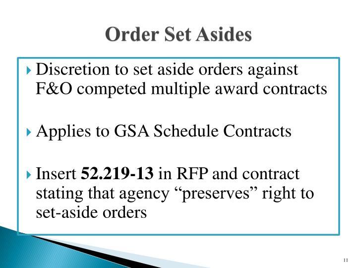 Order Set Asides