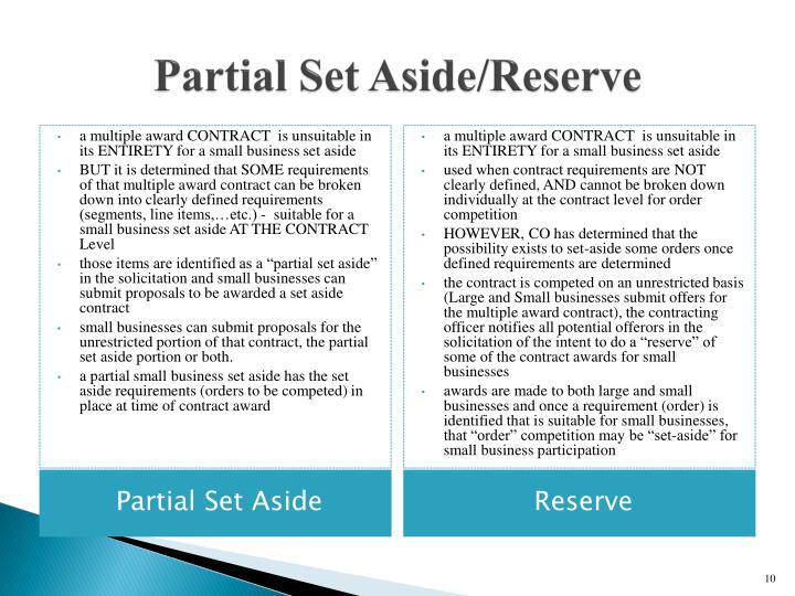 Partial Set Aside/Reserve