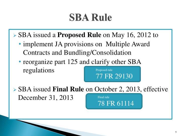 SBA Rule