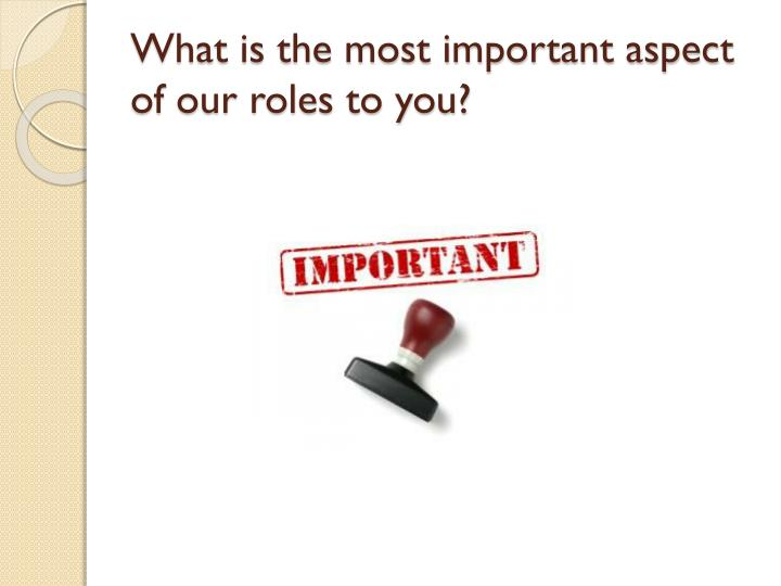 What is the most important aspect of our roles to you?