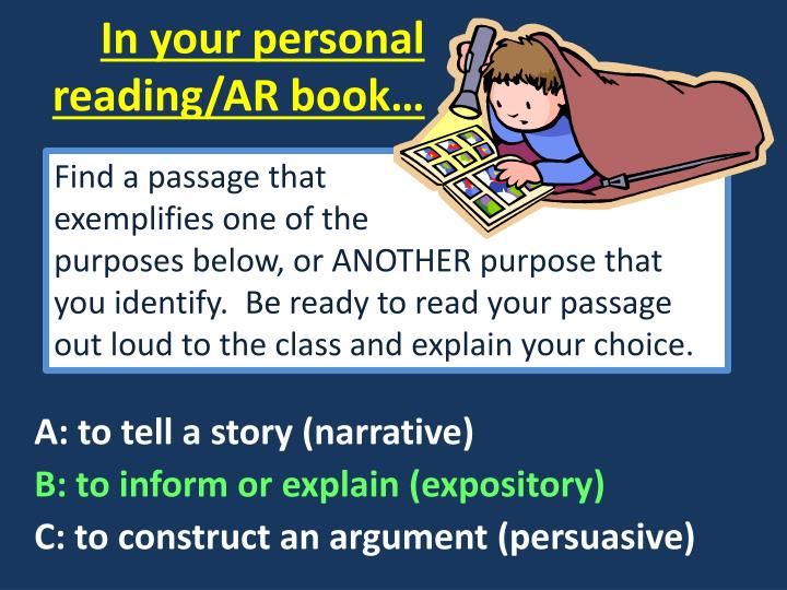 In your personal reading/AR book…