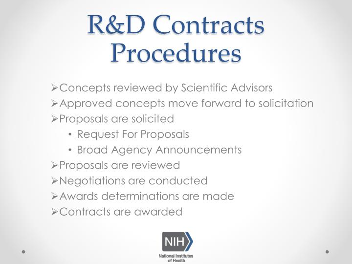 R&D Contracts Procedures