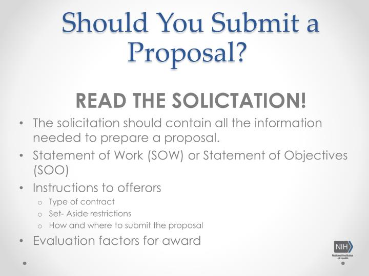 READ THE SOLICTATION!