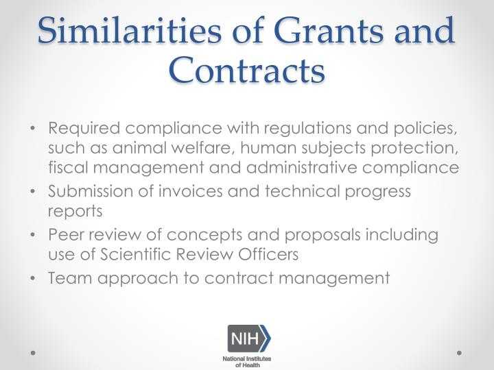 Similarities of Grants and Contracts