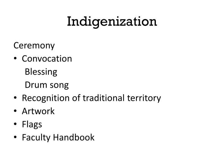 Indigenization