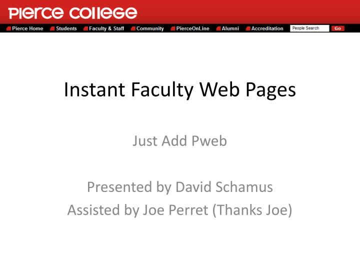 Instant faculty web pages
