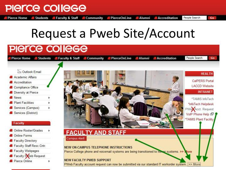 Request a pweb site account