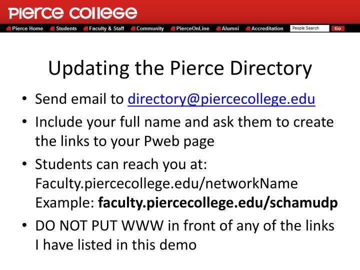 Updating the Pierce Directory