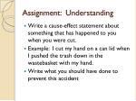 assignment understanding