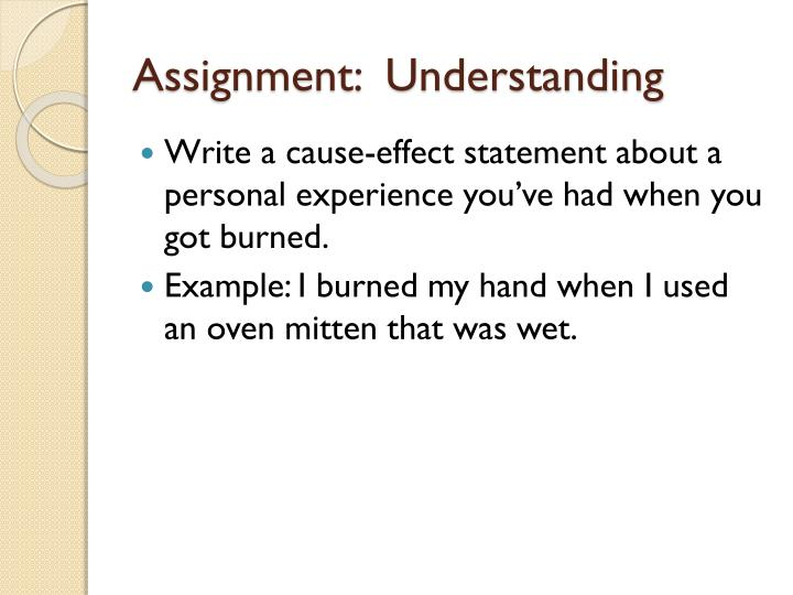 Assignment:  Understanding