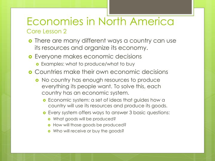 Economies in North America