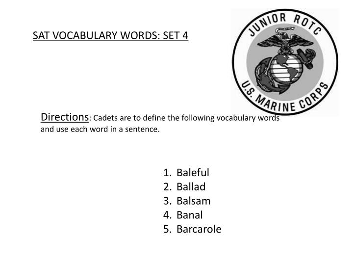 SAT VOCABULARY WORDS: SET